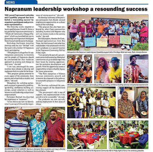 Napranum leadership workshop a resounding success – 16th October 2013