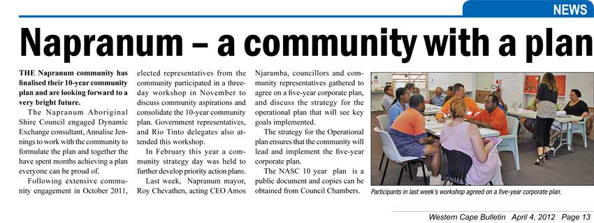 Napranum: a community with a plan - 4th April 2012