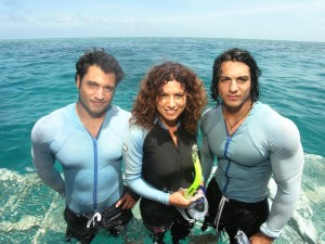 Right before a dive on the Great Barrier Reef! I've shown this photo at so many workshops-- the most important thing is the connection I have with my boys.
